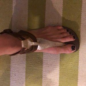 Emu Australia gold/brown leather sandals sz 7 EUC